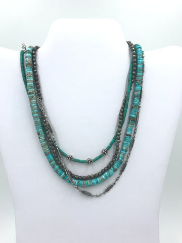 Turquoise and Blue Jasper Multi Strand Choker