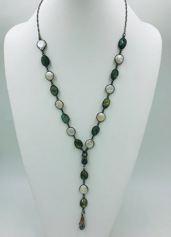 Labradorite and Pearl Bezel chain with Labradorite pendant