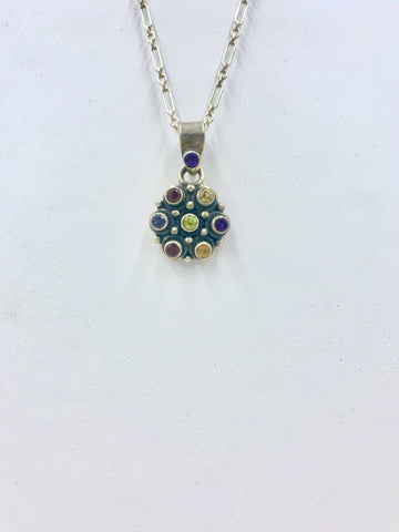 One-of-a-Kind Round Sterling Silver Pendant with Semi-Precious Stones