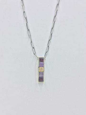 One-of-a-Kind Sterling Silver Vertical Pendant with Semi-Precious Stones