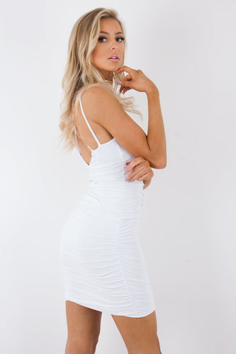Alyssa White Slinky Ruched Bodycon Dress