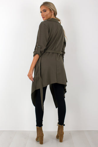 Amelia khaki waterfall duster belted jacket