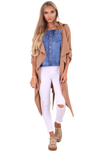 Amelia camel waterfall duster belted jacket