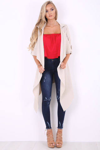 Stone Waterfall Duster Jacket - Amelia
