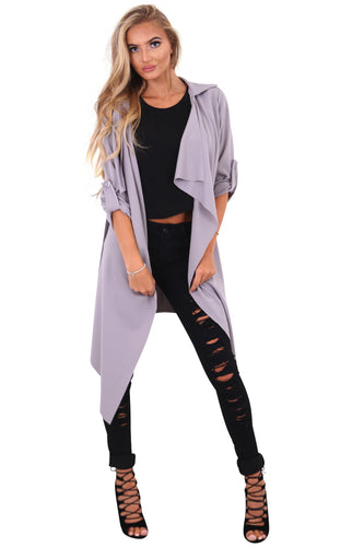 Amelia grey waterfall duster belted jacket