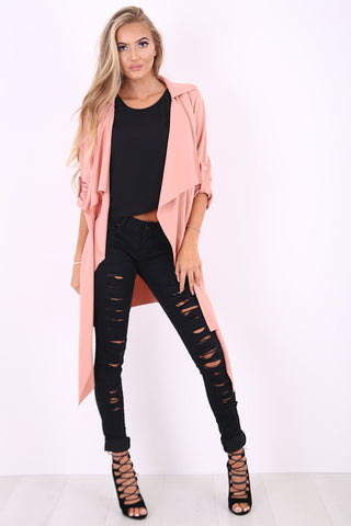 Amelia rose pink waterfall duster belted jacket