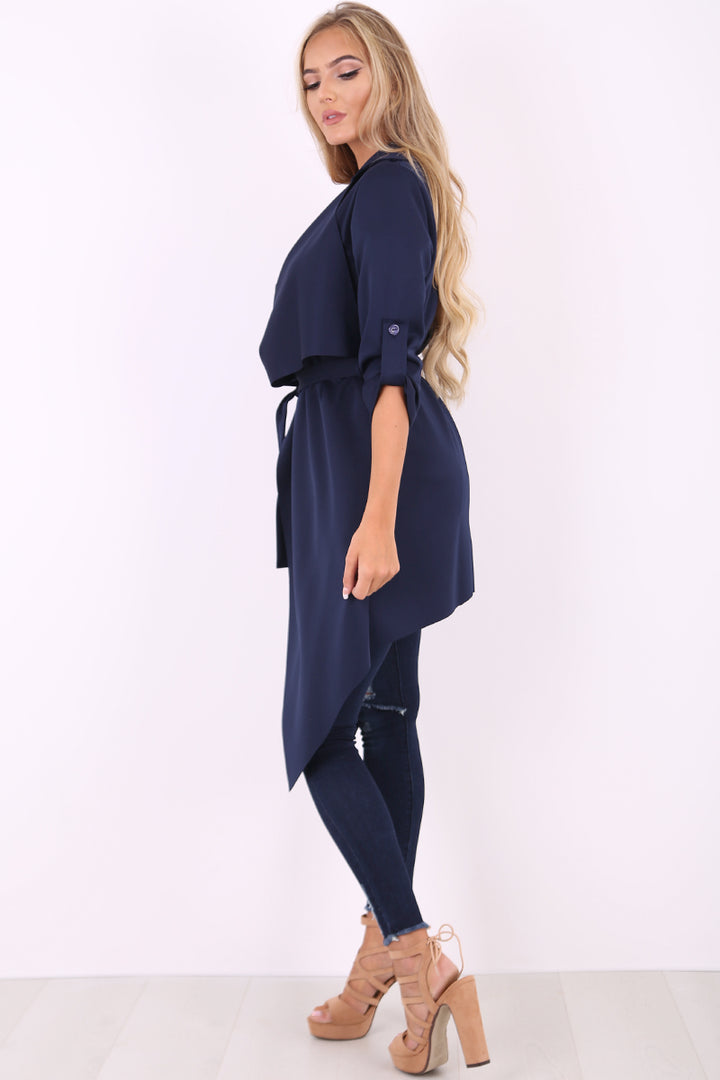 Amelia navy waterfall duster belted jacket