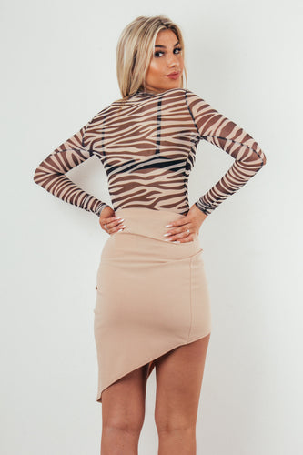 Beige asymmetric wrap over skirt - Kylie