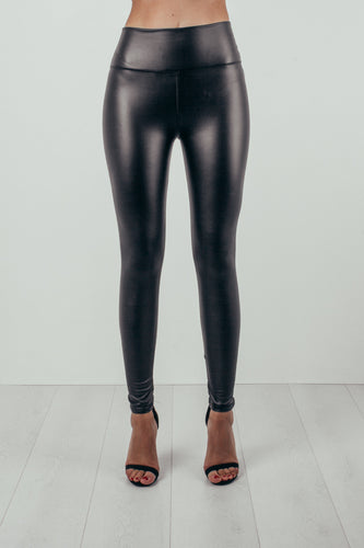 High Waist Leather Look Leggings Black - Alexandra