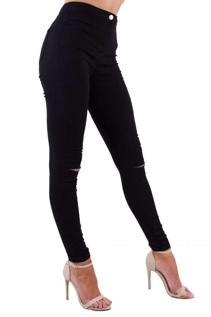 Shaunie Black High Waisted Super Skinny Jeans With Ripped Detail