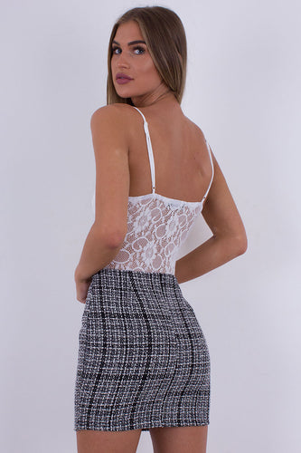 Tweed Skirt Black & White - Kiera