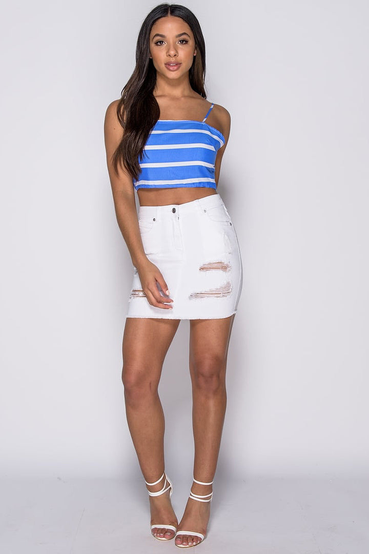 Marley White Denim Distressed Mini Skirt