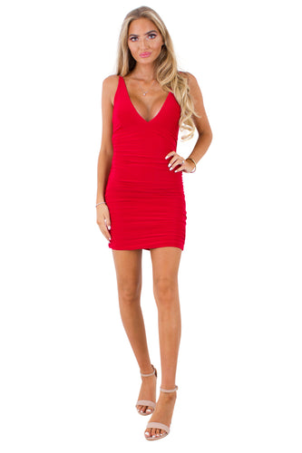 Alyssa Red slinky ruched bodycon dress