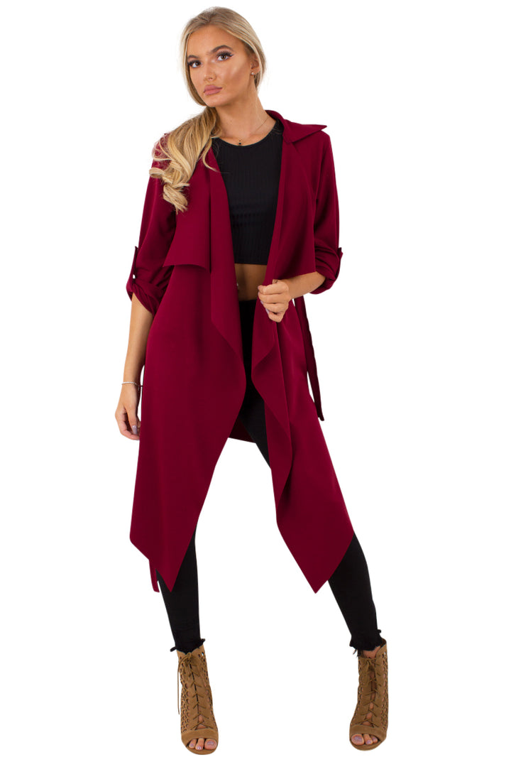 Amelia wine waterfall duster belted jacket
