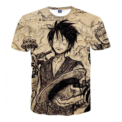 One Piece T-Shirt - Monkey D Luffy 3D Print T-Shirt CSSO031 - cosplaysos