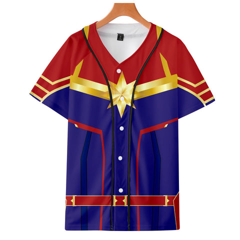 Captain Marvel T-Shirt - Carol Danvers Graphic Button Down T-Shirt CSOS930 - cosplaysos