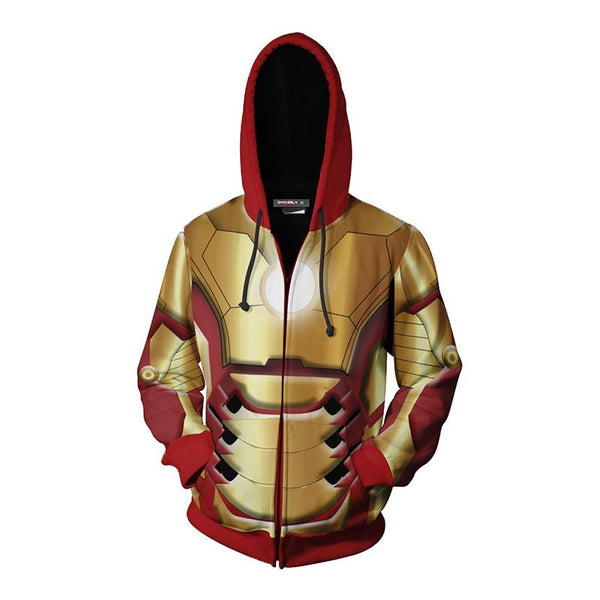 The Avengers Endgame Tony Stark Zip Up Hoodie CSP809 - cosplaysos