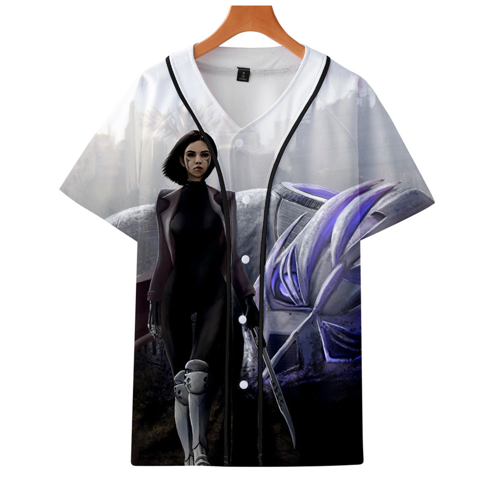 AlitaT-Shirt - Battle Angel Graphic Button Down T-Shirt CSOS993 - cosplaysos