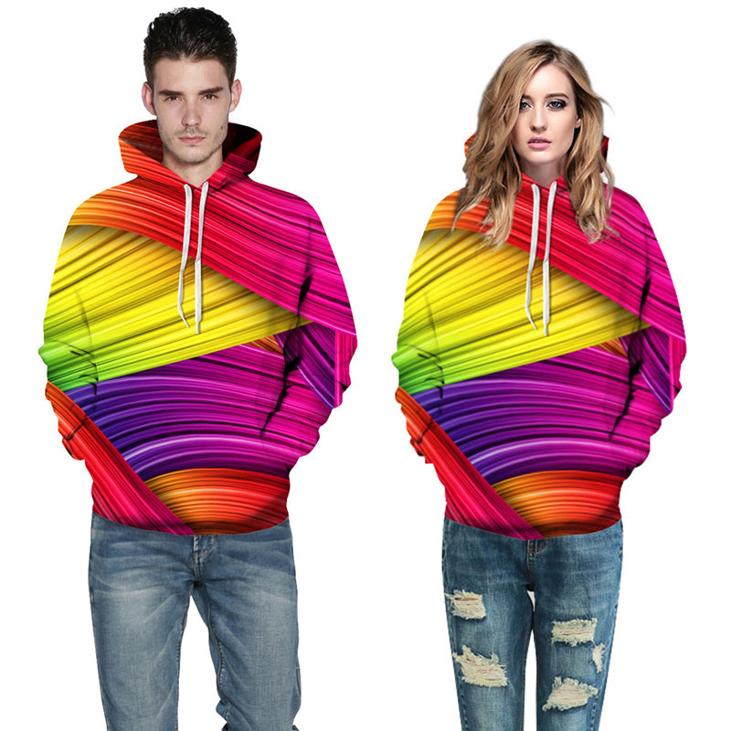 3D Print Hoodie - Colorful Stripes Pattern Pullover Hoodie CSS014 - cosplaysos