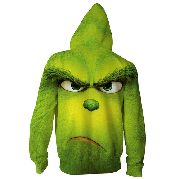 Grinch Hoodie - The Grinch Zip Up Hooded Sweatshirt CSSG004 - cosplaysos