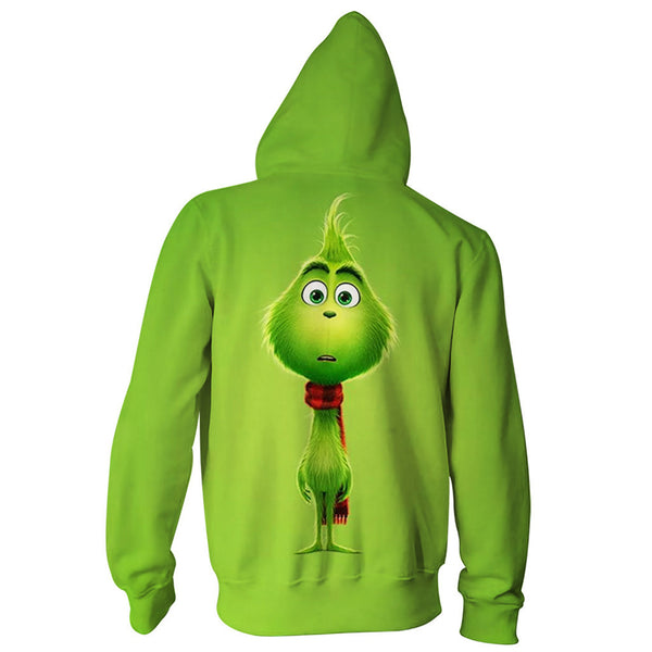 Grinch Hoodie - The Grinch Zip Up Hooded Sweatshirt CSSG005 - cosplaysos