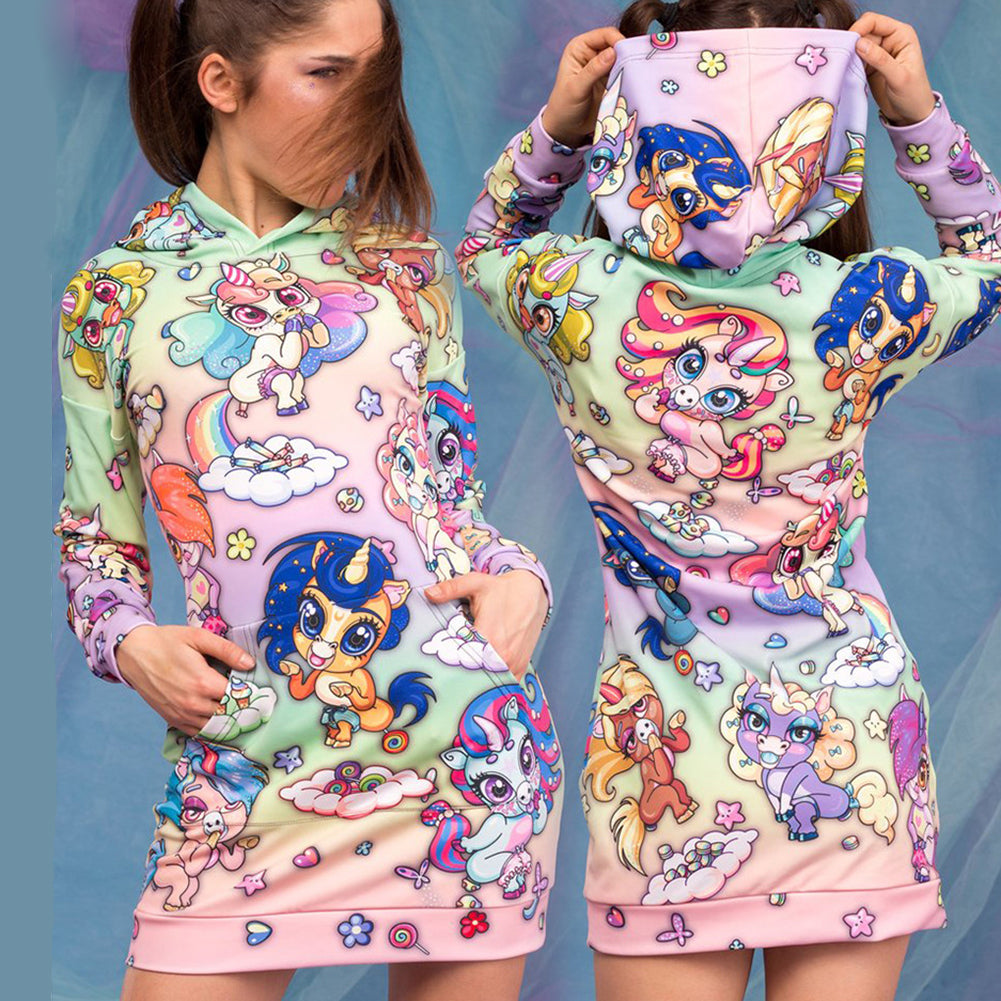 Rainbow Unicorn Hoodie Dress - cosplaysos