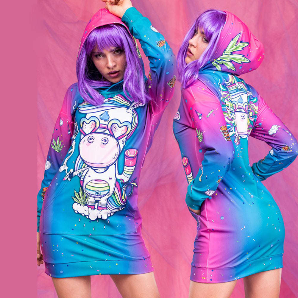 Glasses Unicorn Hoodie Dress - cosplaysos