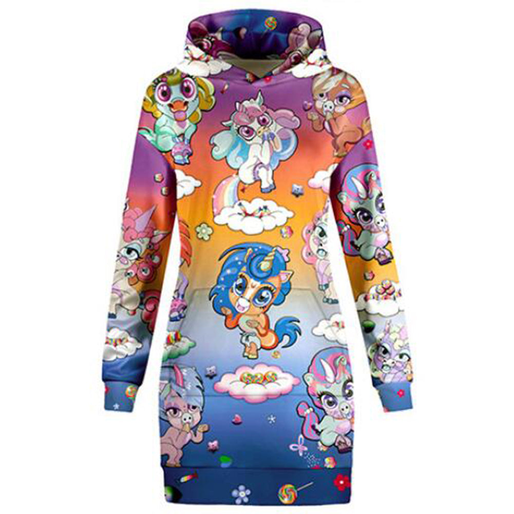 Rainbow Unicorns Hoodie Dress - cosplaysos