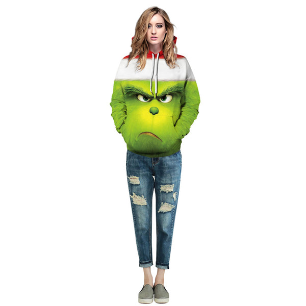 Grinch Hoodie - The Grinch Pullover Hooded Sweatshirt CSSG008 - cosplaysos