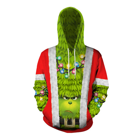 Grinch Hoodie - The Grinch Pullover Hooded Sweatshirt CSSG016 - cosplaysos