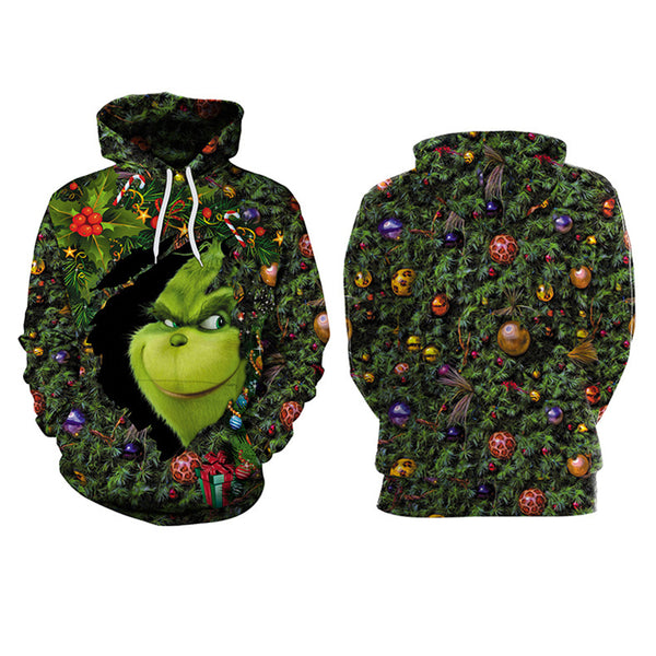 Grinch Hoodie - The Grinch Pullover Hooded Sweatshirt CSSG017 - cosplaysos