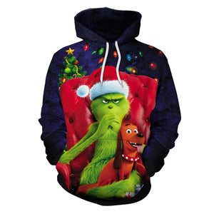 Grinch Hoodie - The Grinch Pullover Hooded Sweatshirt CSSG020 - cosplaysos