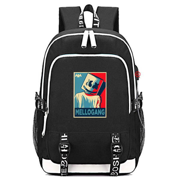 Marshmello Travel Backpack With USB Charging Port CSSO159 - cosplaysos