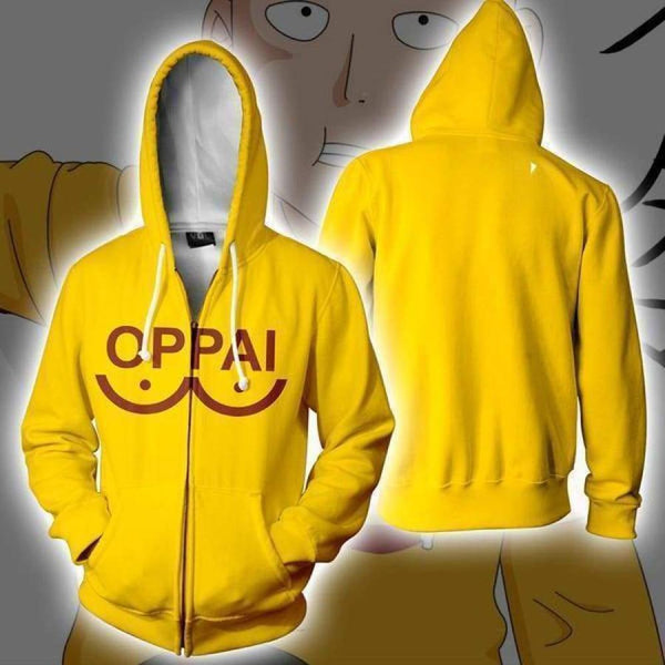 One Punch Man Hoodies - Anime Oppai Zip Up Hooded Sweatshirt CSSO053 - cosplaysos