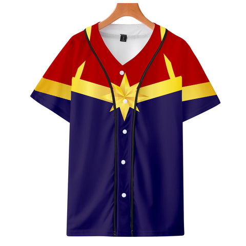 Captain Marvel T-Shirt - Carol Danvers Graphic Button Down T-Shirt CSOS932 - cosplaysos
