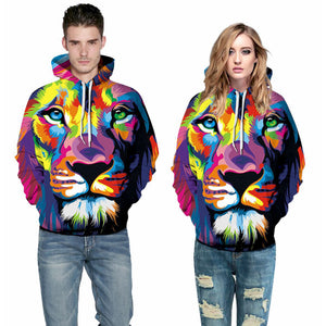 3D Print Hoodie - Color Paint Lion Head Pattern Pullover Hoodie  CSS026 - cosplaysos