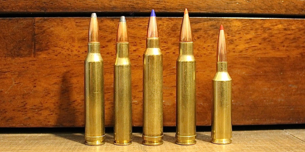 Left-to-Right: 7mm Rem Mag, 30-06, 300 Win Mag, 338 Win Mag, 6.5 PRC
