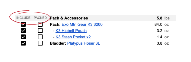 Gear List Checkboxes