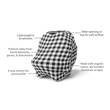 Load image into Gallery viewer, Black Gingham | 5 in 1 Multi Use Cover