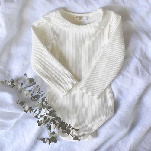 Chalk | Ribbed Bodysuit