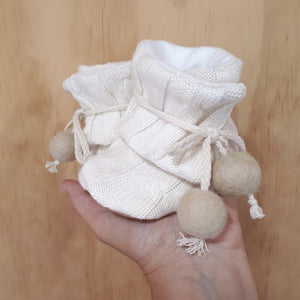 Natural | Organic Pom Pom Booties