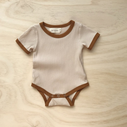Light Oatmeal | Retro Ribbed Bodysuit