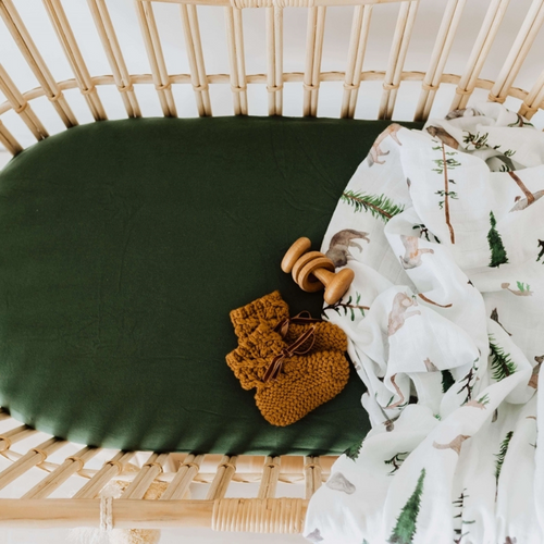 Olive Green | Bassinet Sheet + Change Pad Cover