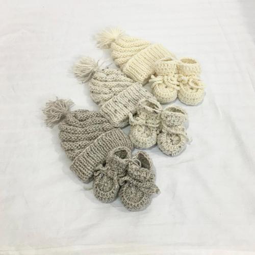 Various Colours | Wool Booties + Beanie Bundle