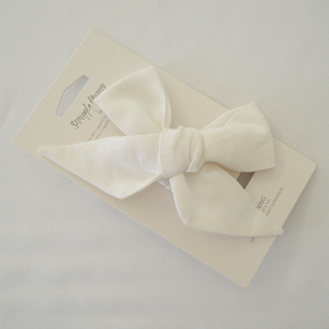 White Linen | Bow Headband