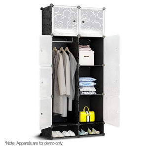 10 Cube Wardrobe - Black - Factory To Home - Home & Garden
