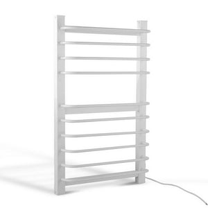 10 Rung Electric Heated Towel Rail - White - Factory To Home - Home & Garden