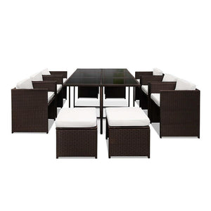 11 Piece Outdoor Dining Set - Brown & White - Factory To Home - Furniture