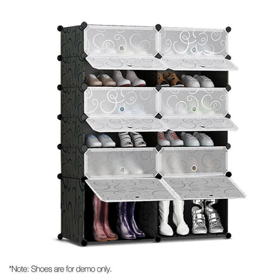 12 Cube Stackable Shoe Rack - Black & White - Factory To Home - Home & Garden