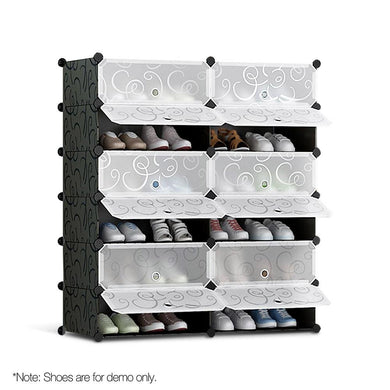 12 Cube Stackable Shoe Storage Cabinet - Black & White - Factory To Home - Home & Garden